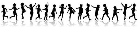 Seamless pattern silhouettes jumping children