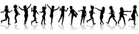 Il modello senza cuciture profila le ragazze di salto felici. Archivio Fotografico - 81964709