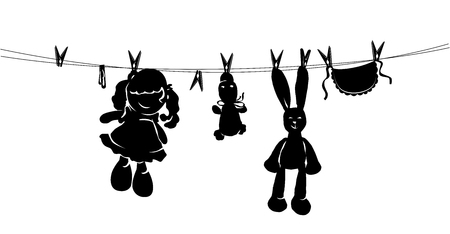 children silhouettes: Silhouette toys drying on rope after washing. Illustration