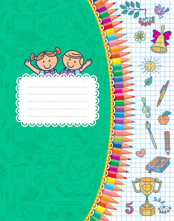 leccion: Cuaderno verde de la escuela de la cubierta en jaula.