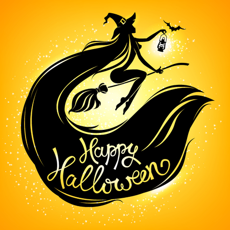 Silhouette witch on broomstick with text happy halloween on orange. Illustration
