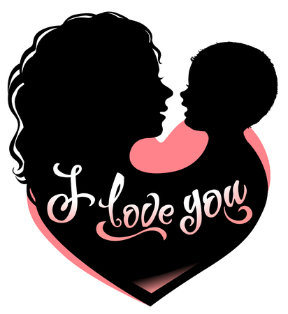 Silhouette mother and baby with heart and lettering I love you