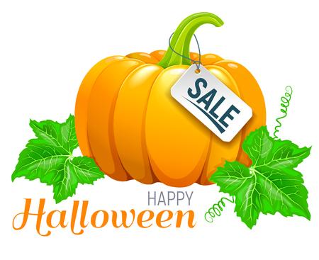 Happy Halloween beautiful ripe pumpkin sale. Illustration