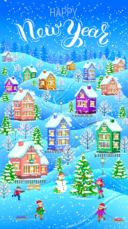 Winter card vertical Happy New Year banner.