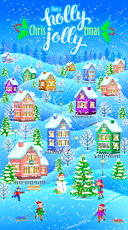 Have a Holly jolly Christmas vertical greeting card with winter themed design. Illustration