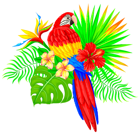 Bright tropical composition with palm tree, parrot and flowers