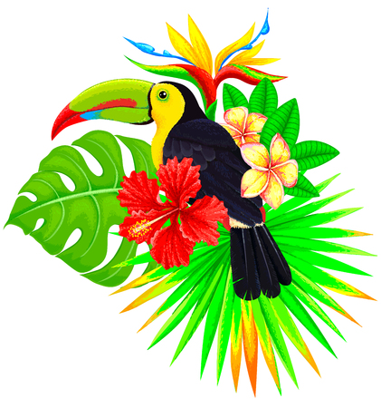 Bright tropical composition with toucan, palm tree and flowers