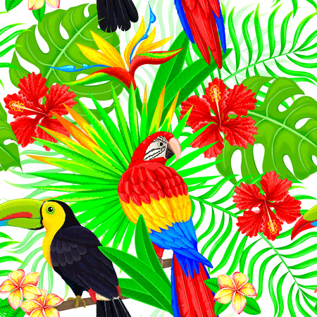 Seamless pattern of tropical birds leaves and flowers. Illustration