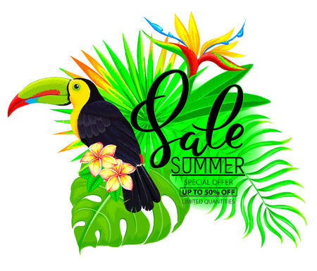 Summer sale bright composition with toucan, flowers and text