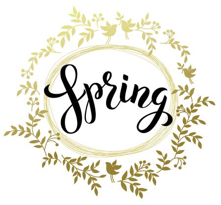 Spring handwritten black brash pen summering Spring.