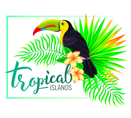 Bright tropical island composition with toucan leaves flowers Иллюстрация