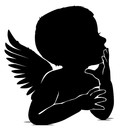Black and white silhouette of baby angel thinks leaning his hand to his lips Illustration