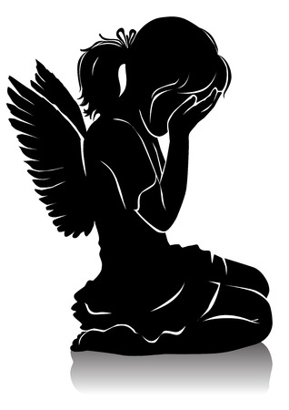Silhouette little crying beautiful angel girl. Ilustração
