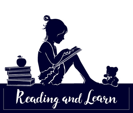 Silhouette cute little girl reading book and learn sign. Ilustração