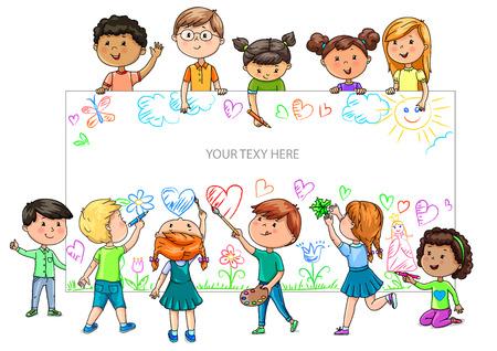 Grappige cartoonkinderen van verschillende nationaliteiten houden een lege banner vast.