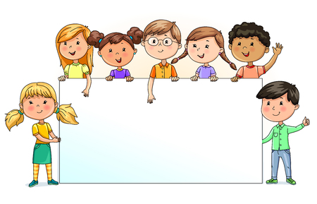 Bright funny kids holding blank banner for your text