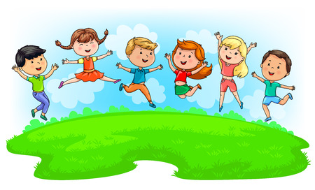 Bright cute kids jumping on green meadow and blue sky