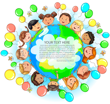 Bright cute kids different nationalities hold Earth balloons around and place for your text. Illusztráció