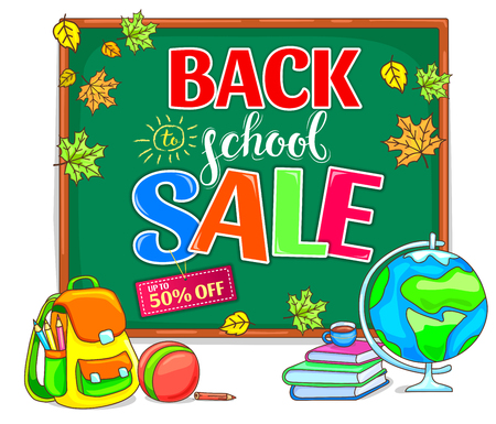 Bright back to school sale illustration with school board Ilustracja