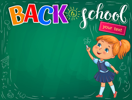 Back to school bright illustration with your text. Stock Illustratie