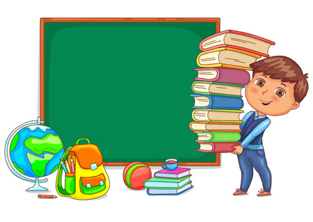 Wood blackboard and cute child with books. Illustration