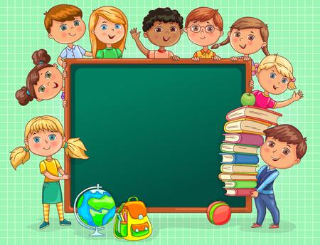 Śliczne dzieciaki z tablicą szkolną i książkami. Ilustracje wektorowe