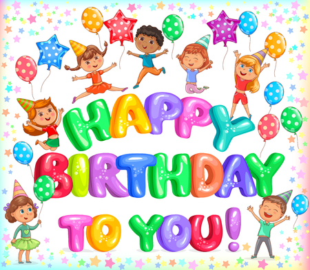 Bright yappy birthday to you colorful letteers and cute kids Ilustração