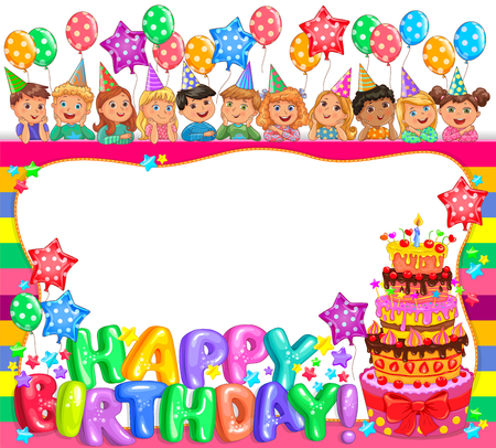 Birthday cool frame with cake and cute kids