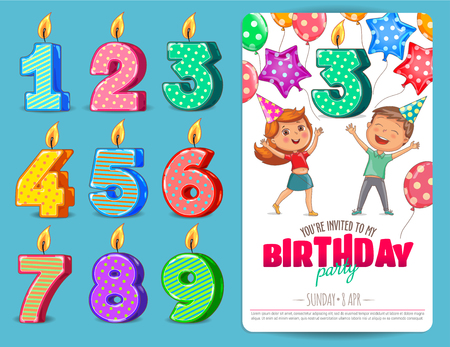 Birthday numbers candle with kids Birthday party invitation card template Ilustração