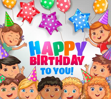 Happy birthday to you design with cute children. Ilustração