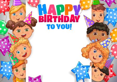 Bannière de conception de vecteur d'anniversaire lumineux avec des visages d'enfants mignons