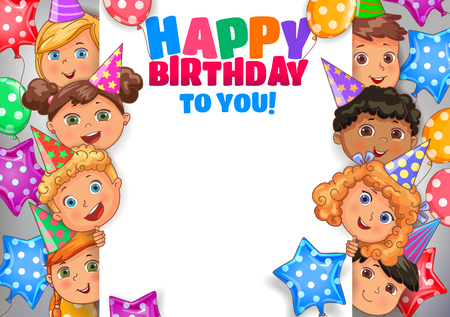 Bright birthday vector design banner with faces cute kids