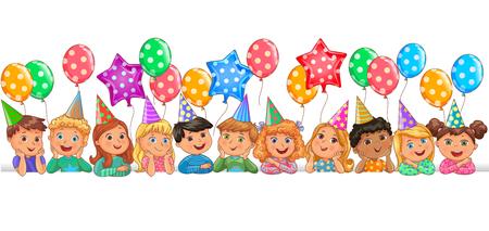 Cool cute children faces birthday Ilustração