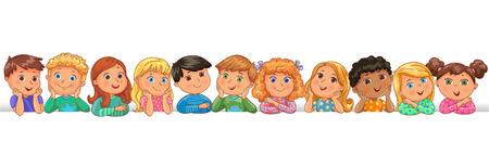 Bright cute kids happy blank banner