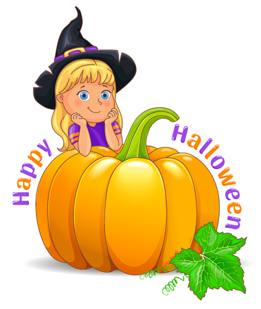 Happy Halloween funny girl in witch hat with pumpkin.