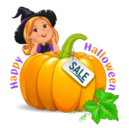 Happy Halloween funny girl in witch hat with pumpkin sale sign Ilustração
