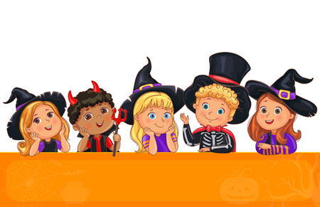 Bright cute kids in Halloween hat template for design