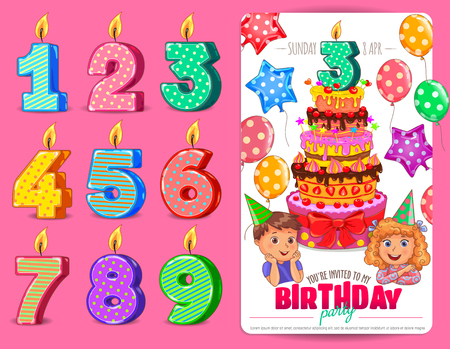Birthday numbers candle with cute kids and cake Birthday party invitation card template