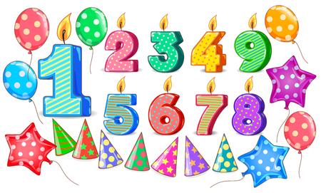 Birthday figures candle balls cones bright set. Ilustração