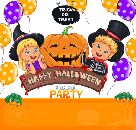 Color Halloween party design with cute kids