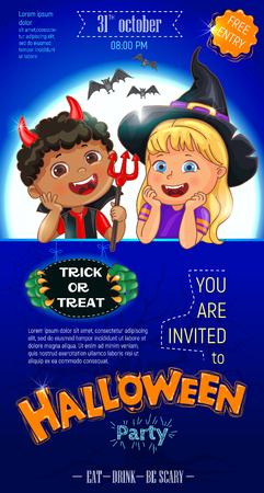 Blue Halloween cool poster template