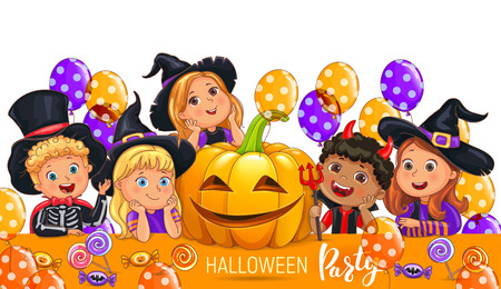 Halloween party design with cute kids.