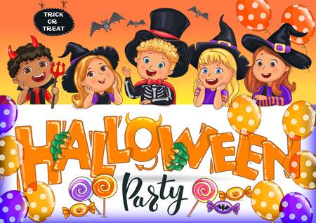 Orange Halloween party poster with kids. Ilustração