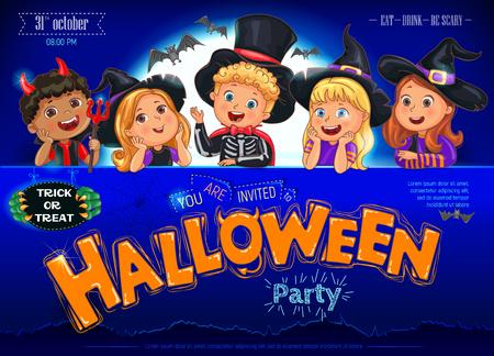 Halloween party poster ready design with text. Ilustração