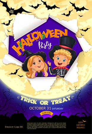 Halloween party bright poster design Ilustração