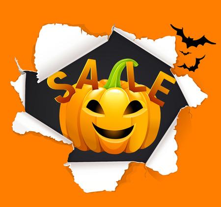 Halloween Sale bright design with pumpkin