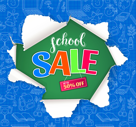 School sale bright design with hole in paper.