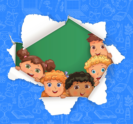 Broken hole in paper with school pattern and children. Illustration