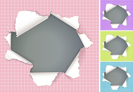 Broken hole in paper colored backgrounds with space for advertisement