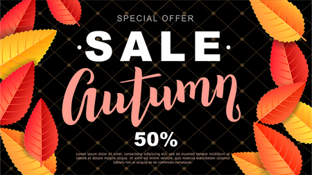 Bright Autumn sale design flyer Illustration